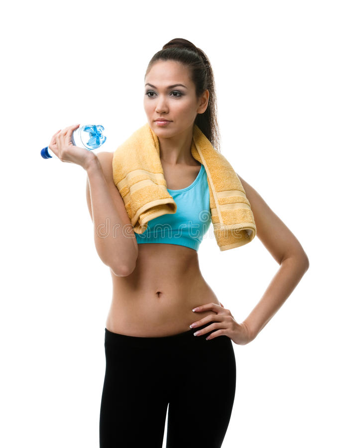 有瓶的运动的妇女水 库存照片