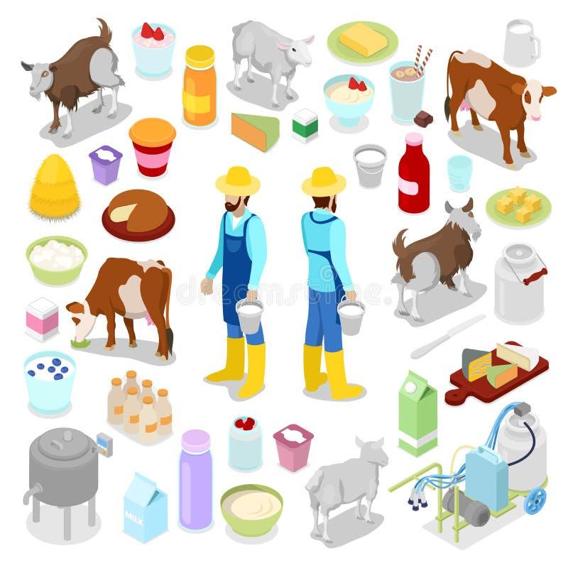 有瓶的送牛奶者牛奶、母牛和乳酪 乳制品 等量平的3d例证 向量例证