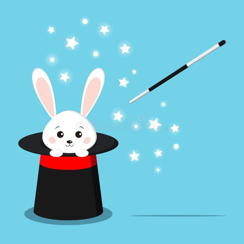 有甜白色兔子里面的不可思议的黑帽会议 库存例证