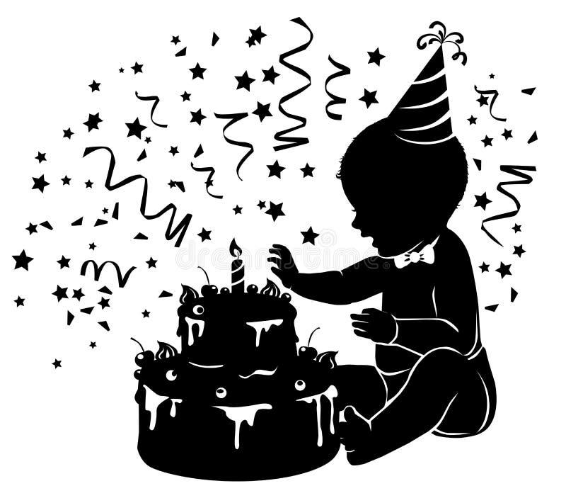 有生日蛋糕的剪影婴孩与蜡烛 库存例证