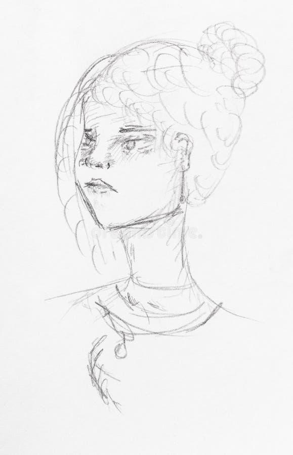 有生气的面孔和小圆面包发型的女孩的头 皇族释放例证
