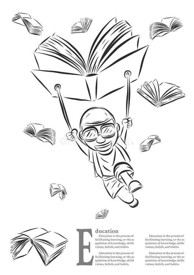 有用手画的书的孩子 向量例证