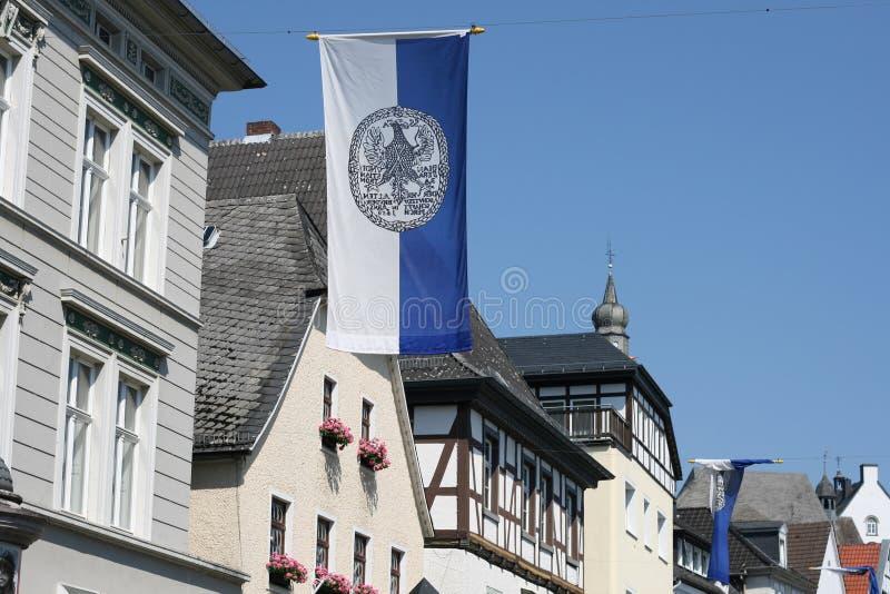 有用木材建造的房子的阿恩斯贝格老市 库存照片