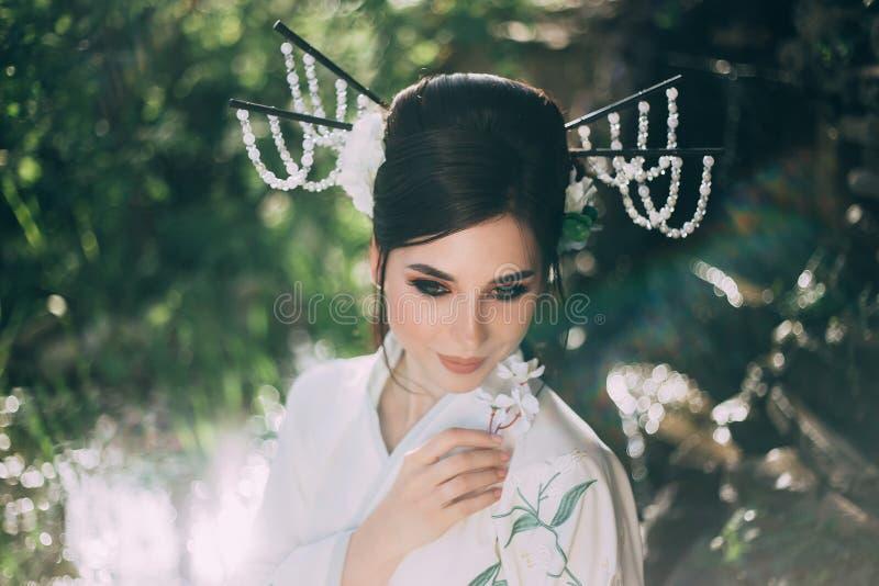 有用Kandzashi装饰的长,黑发,花和长的别针的一个女孩有水晶小珠的 艺妓的画象 免版税库存照片