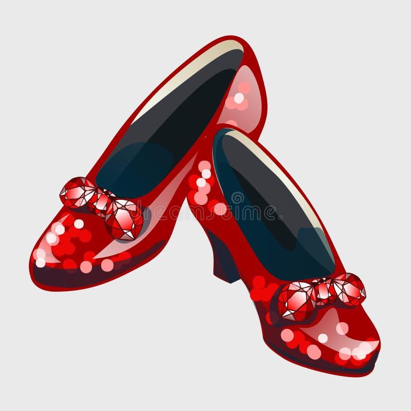 有由红宝石做的弓的红色鞋子 库存例证