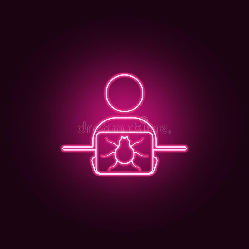 有甲虫象的黑客 网络安全的元素在霓虹样式象的 网站的简单的象,网络设计,流动应用程序,信息 库存例证