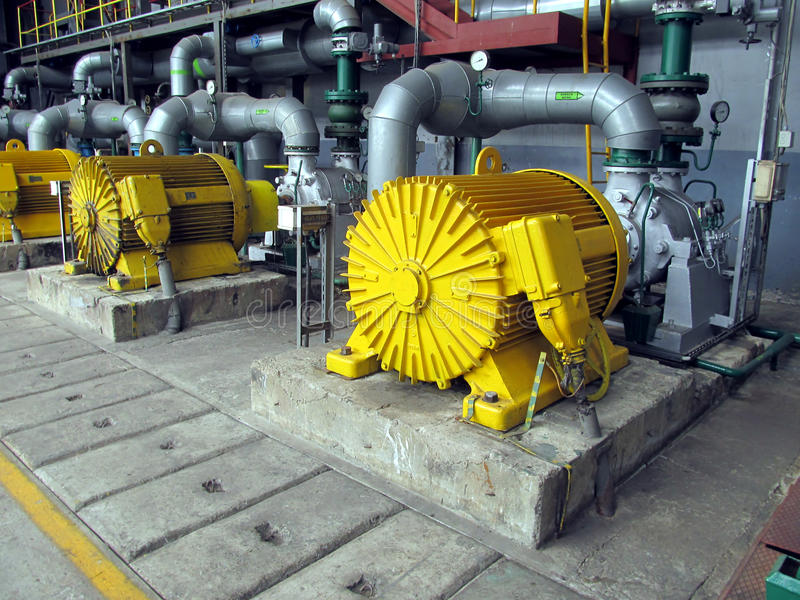 有电动机的几个水泵 图库摄影