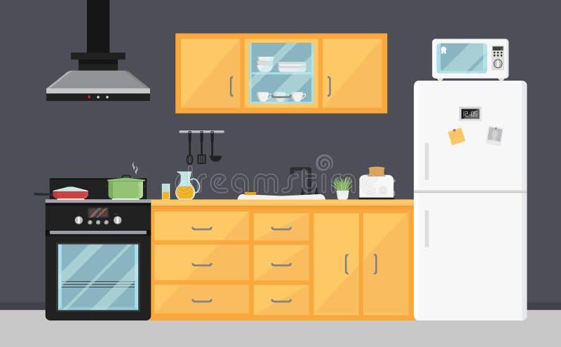 有电器、水槽、家具和盘的平的传染媒介厨房 现代烹调设备 室内部 库存例证