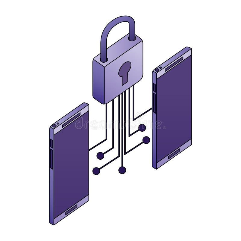 有电子的电路和挂锁的智能手机设备 皇族释放例证