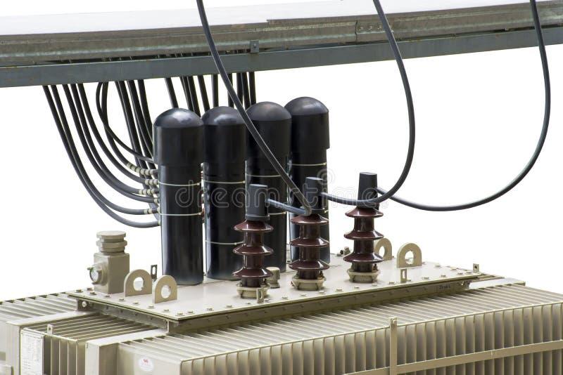 有电子绝缘材料的高压变压器和电 库存照片