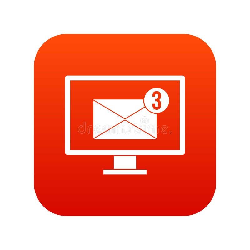 有电子邮件标志象数字式红色的显示器屏幕 皇族释放例证