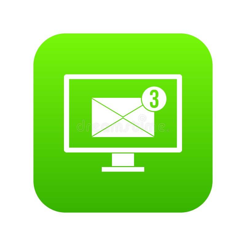 有电子邮件标志象数字式绿色的显示器屏幕 皇族释放例证