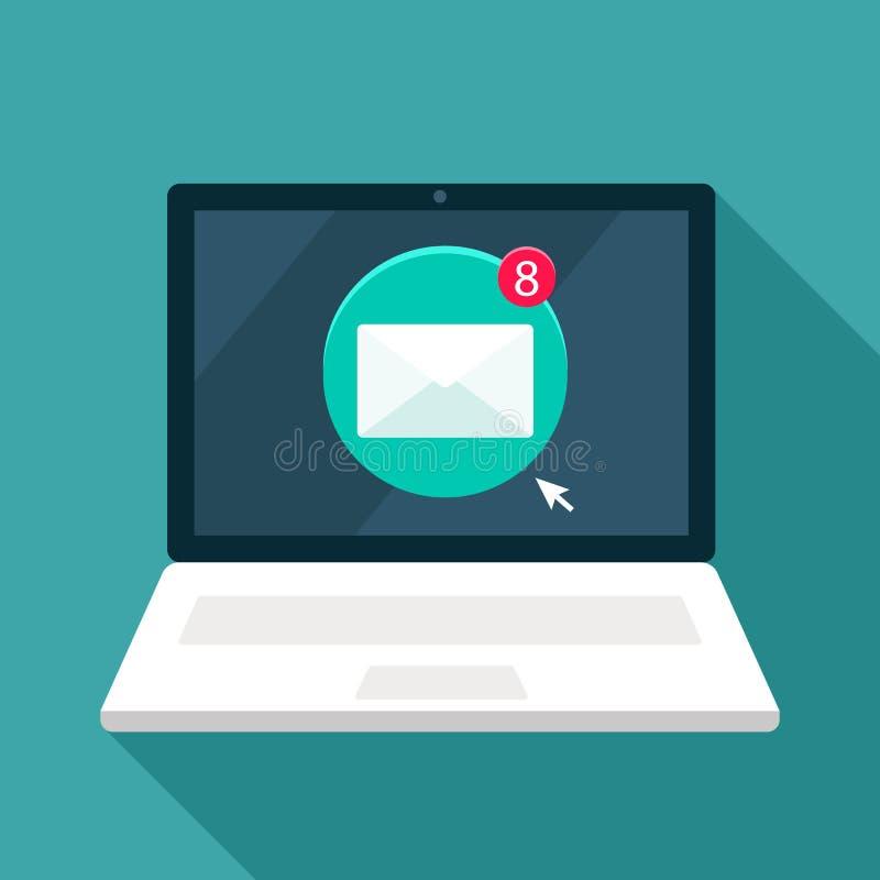 有电子邮件象的开放工作膝上型计算机,信件到达了 r 向量例证