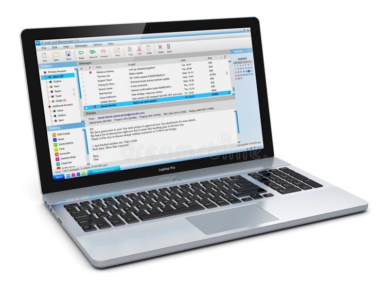 有电子邮件客户端的膝上型计算机 库存例证