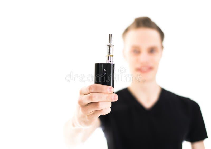 有电子香烟的人 免版税库存图片