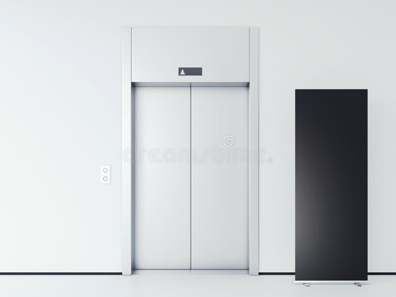 有电梯和垂直的横幅的明亮的大厅 3d翻译 皇族释放例证