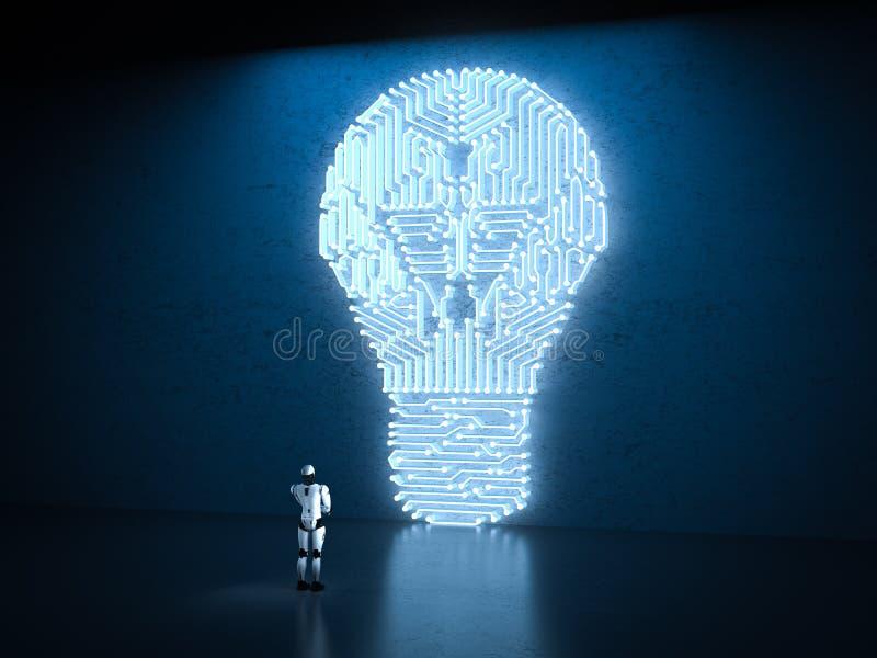 有电灯泡的机器人 图库摄影