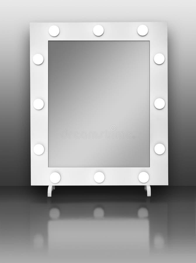 有电灯泡的构成镜子 库存图片