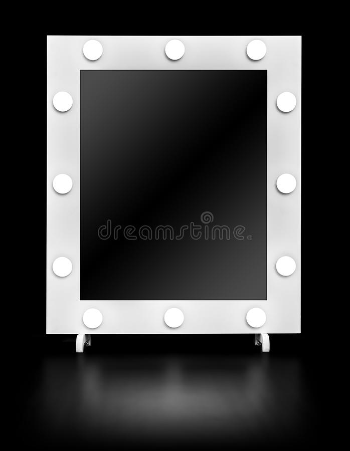 有电灯泡的构成镜子 库存照片