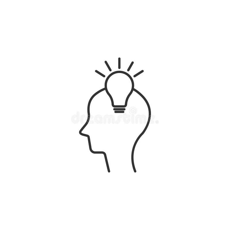 有电灯泡象的头 简单的元素例证 有电灯泡标志设计模板的头 能为网和机动性使用 向量例证