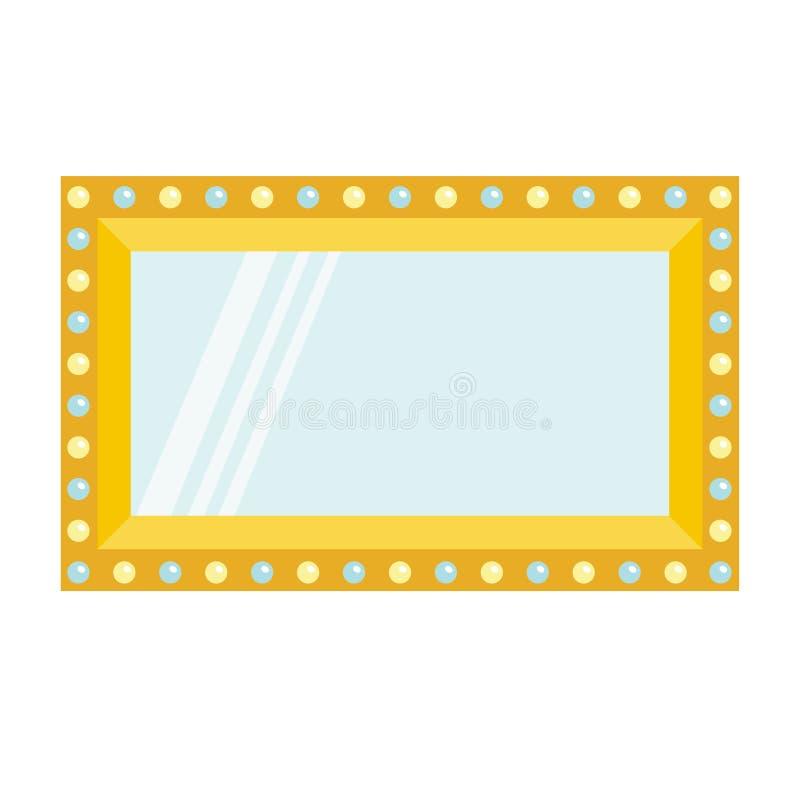 有电灯电灯泡的金黄减速火箭的构成镜子 闪亮指示发光 装饰元素模板 平的设计 奶油被装载的饼干 向量例证