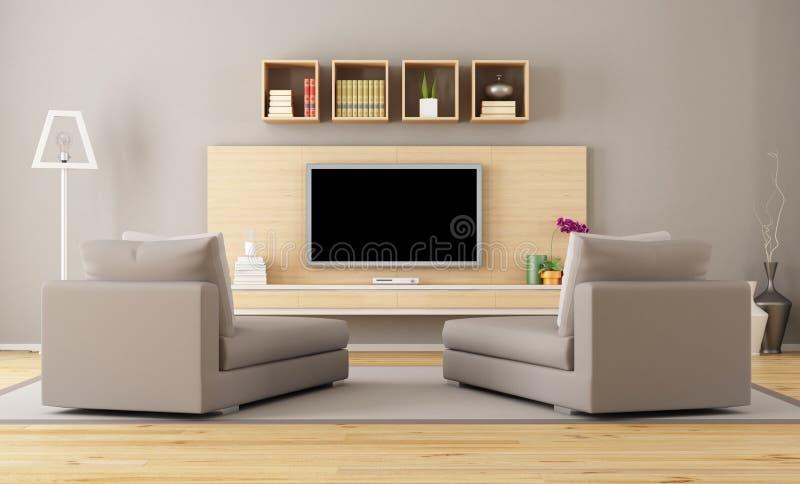 有电视的客厅 库存例证
