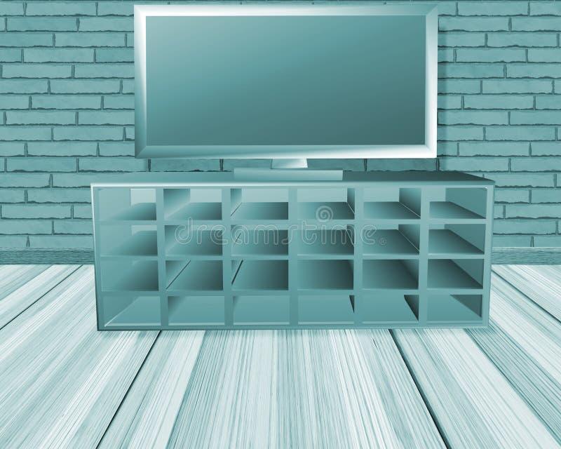 有电视的绿松石室 库存例证