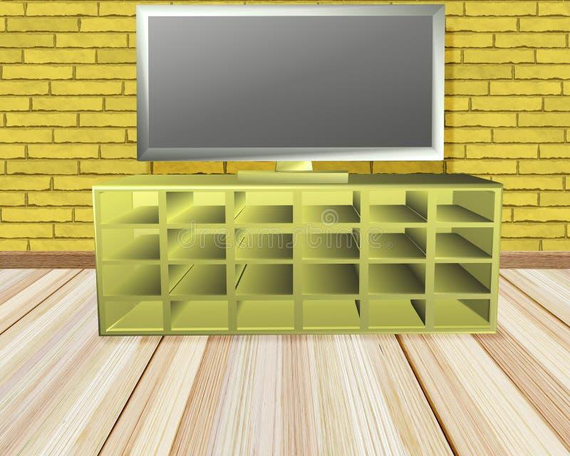 有电视的黄色砖室 库存例证