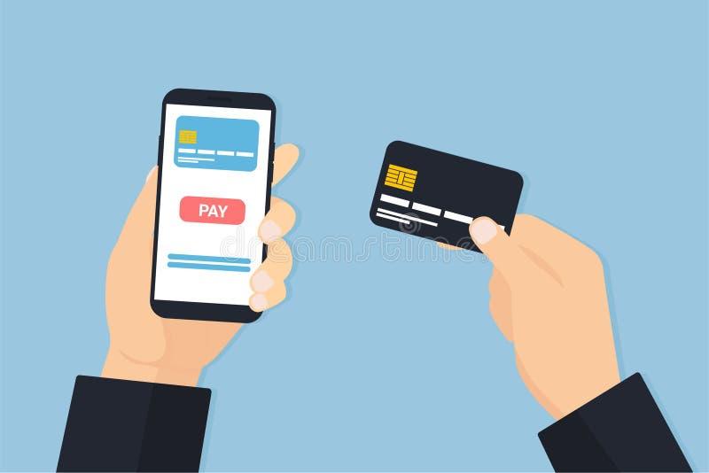 有电话和卡片薪水的手人 向量例证