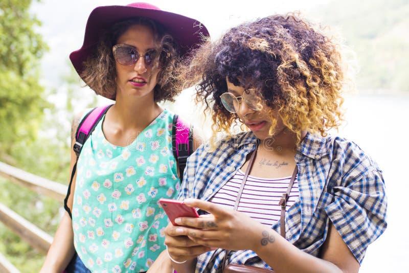 有电话的朋友旅行的 免版税库存照片