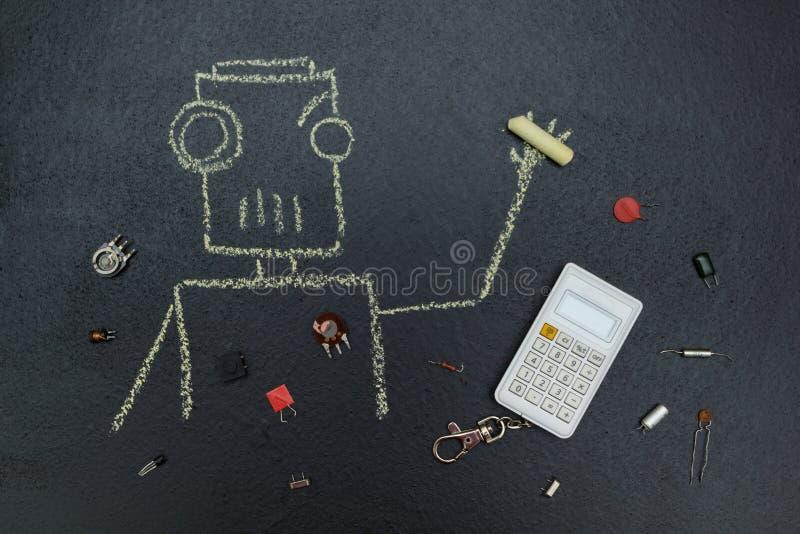 有电零件和计算器的被绘的机器人 向量例证