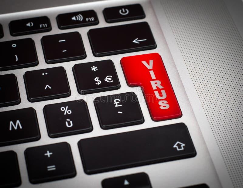 有病毒词的红色按钮在键盘特写镜头 库存图片