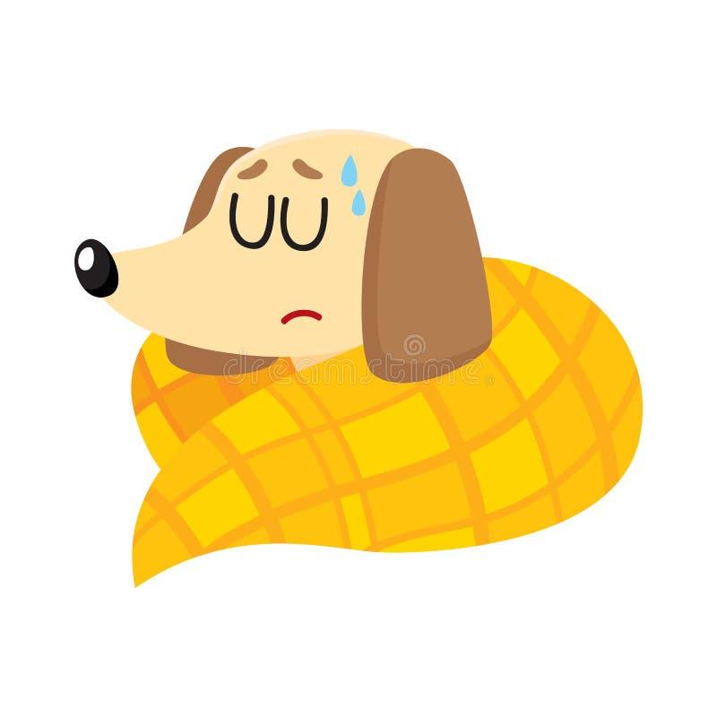 有病的小獾的狗流感,热病,睡觉在毯子下 皇族释放例证