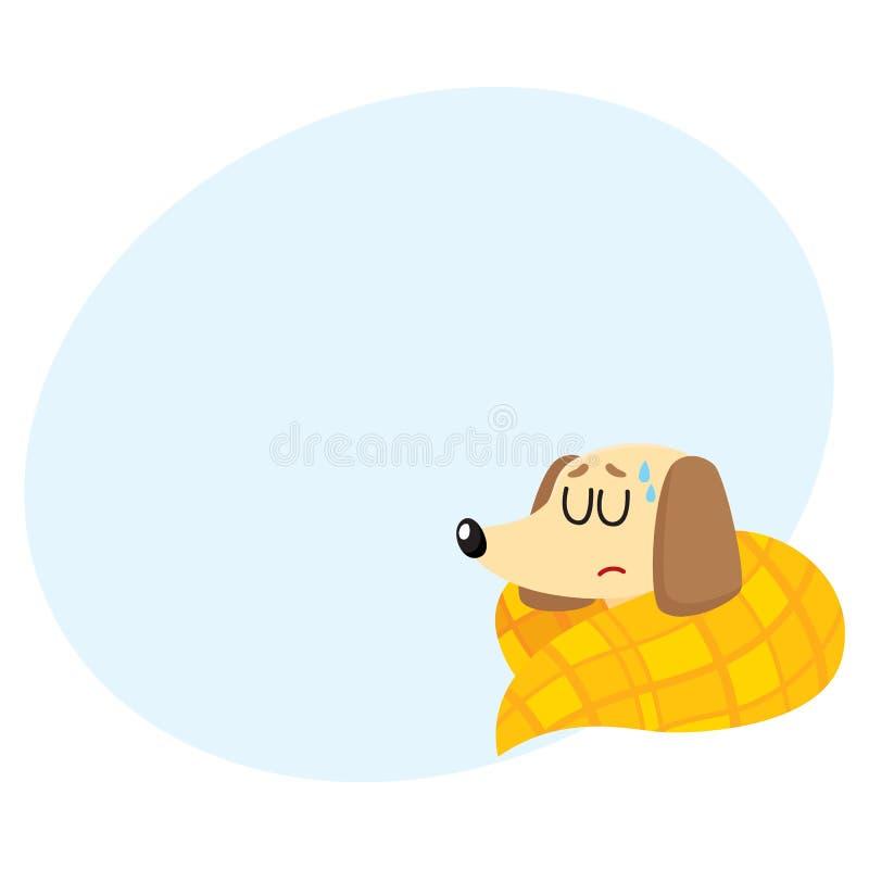 有病的小獾的狗流感,热病,睡觉在毯子下 库存例证