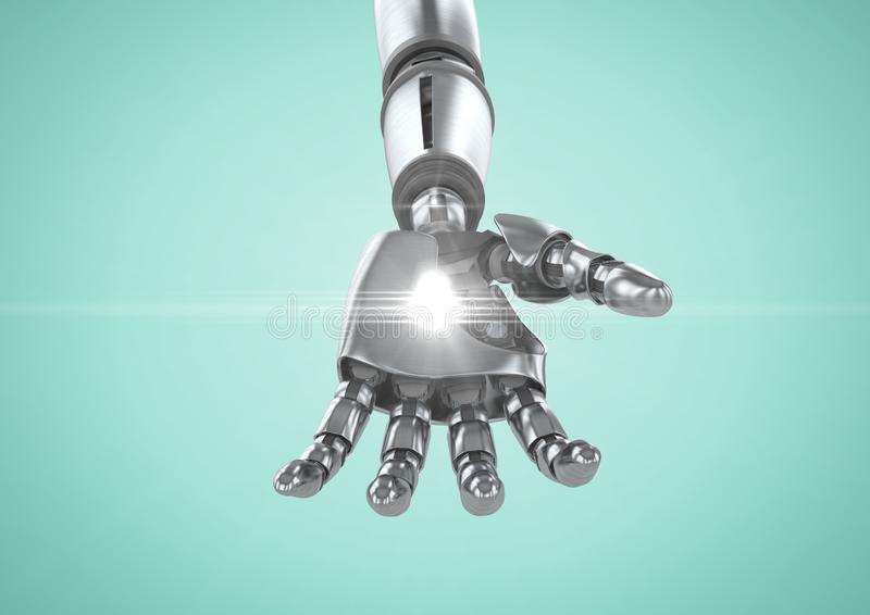 有白光的机器人手反对绿松石背景 向量例证