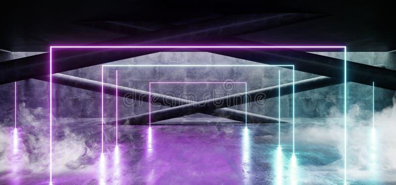 有白光的烟霓虹发光的曲拱门蓝色紫色难看的东西具体明亮的科学幻想小说现代空的霍尔车库隧道走廊 库存例证