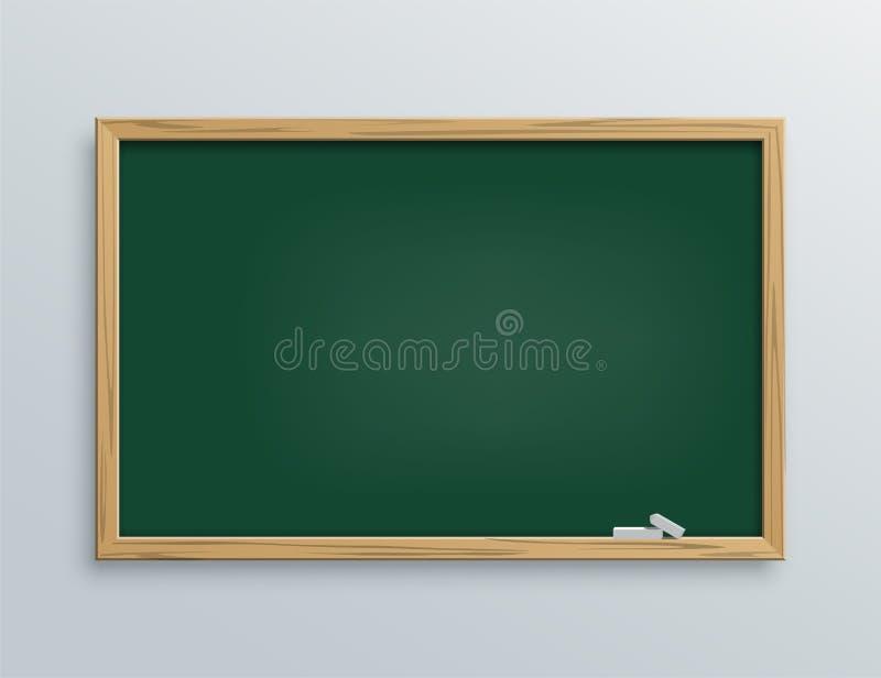 有白垩片断的传染媒介绿色学校黑板 皇族释放例证