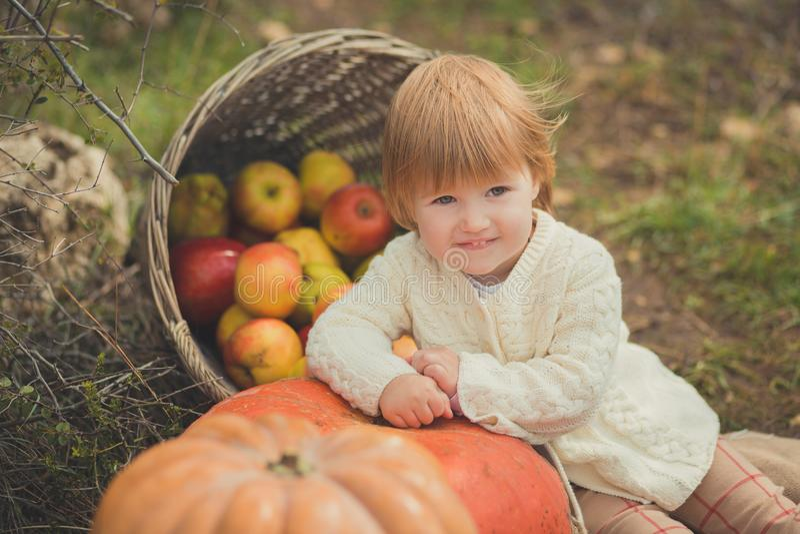 有白肤金发的红色头发佩带的象牙颜色白色毛线衣的接近的画象女婴享用生活时间有篮子ped小儿床的城市村庄 图库摄影