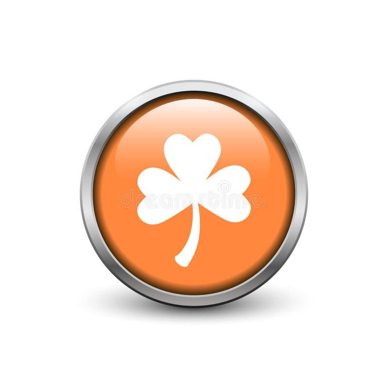 有白色三片叶子三叶草的橙色按钮 库存图片