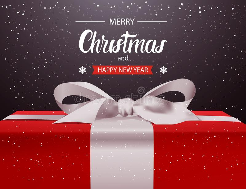 有白色丝带弓假日贺卡设计的圣诞快乐和新年快乐背景红色礼物盒 向量例证