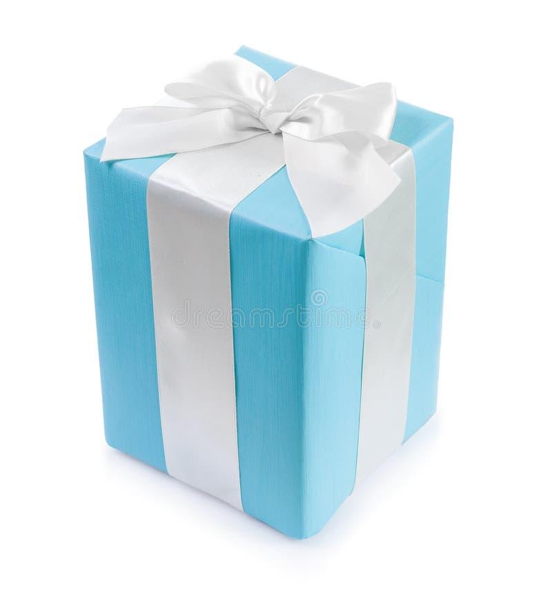 有白色丝带弓的古典蓝色礼物盒 库存图片