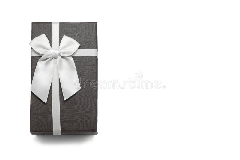 有白色丝带弓的礼物盒 免版税库存图片