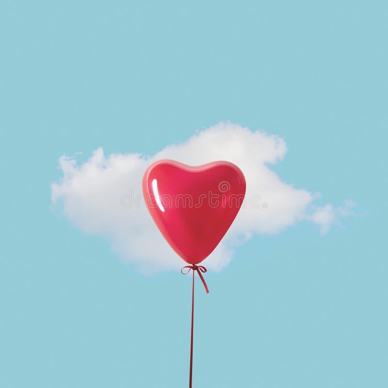 有白色云彩的红心气球在天空蔚蓝 最小的爱概念 免版税图库摄影