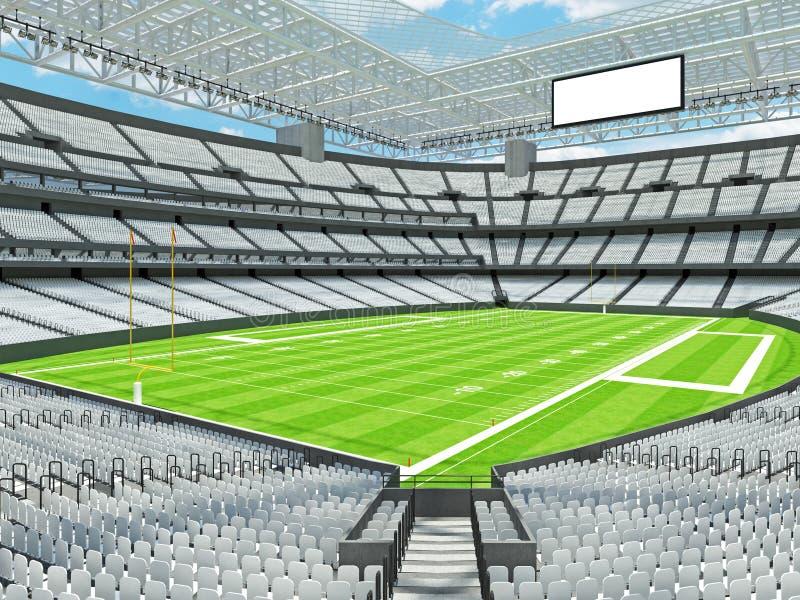 有白色位子的现代橄榄球体育场 库存例证