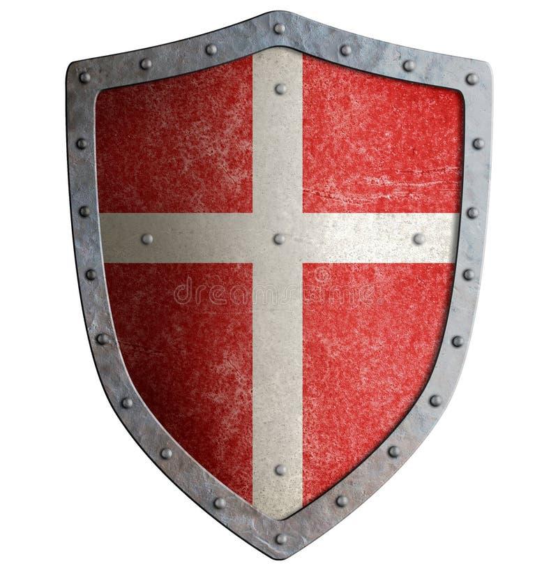 有白色十字架的中世纪烈士` s金属盾隔绝了3d例证 库存例证