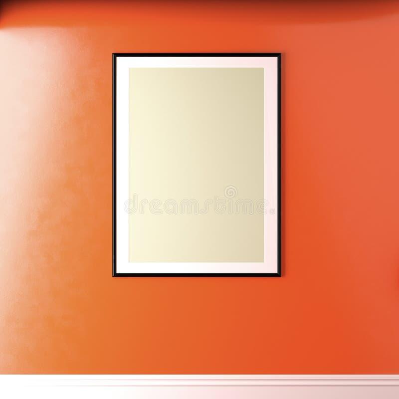 有白色嘲笑的墙壁在居住的珊瑚被绘的墙壁,最小的内部上的框架 向量例证