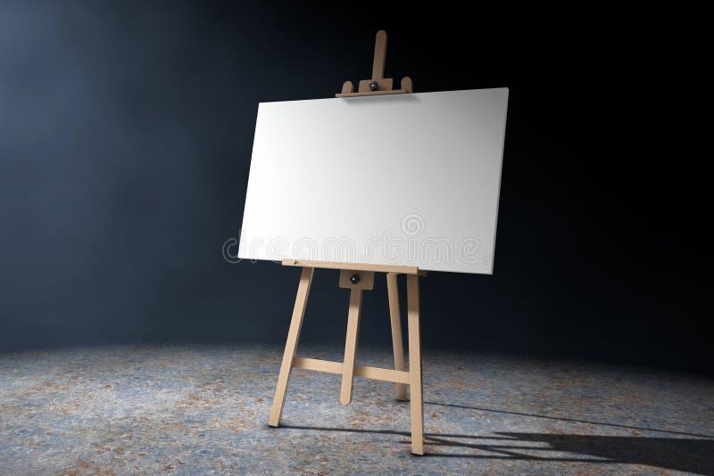 有白色嘲笑的木艺术家画架帆布和调色板 3d关于 向量例证