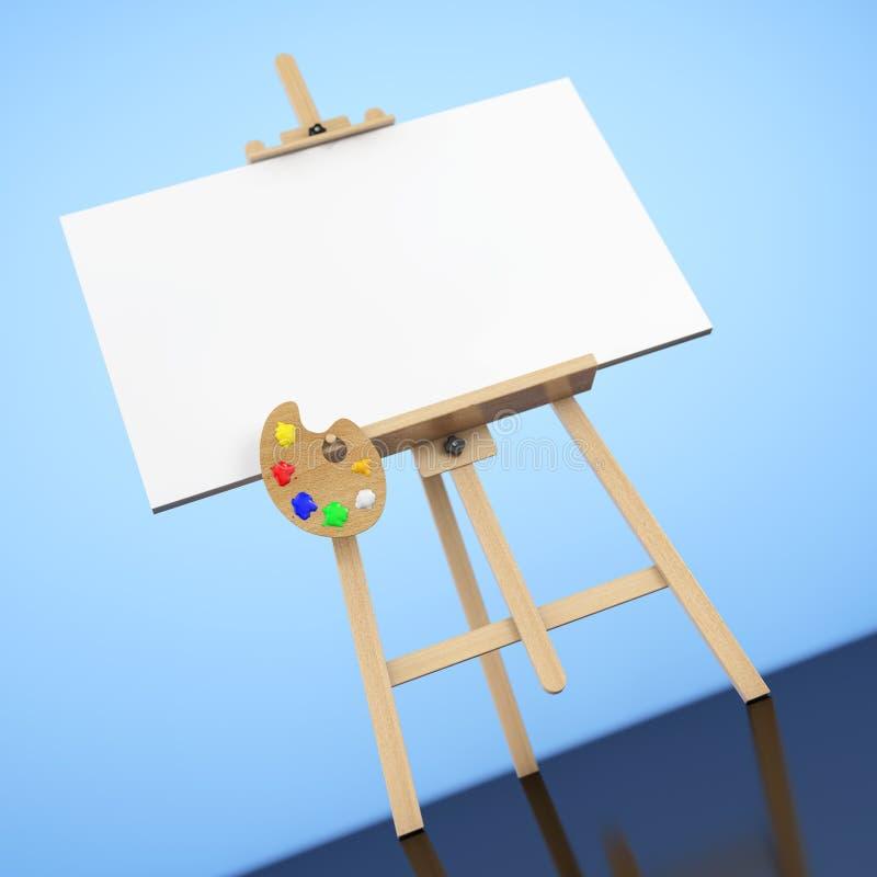 有白色嘲笑的木艺术家画架帆布和调色板 3d关于 库存例证