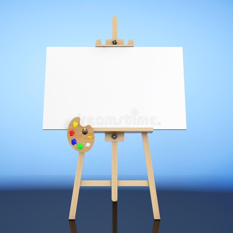 有白色嘲笑的木艺术家画架帆布和调色板 3d关于 皇族释放例证