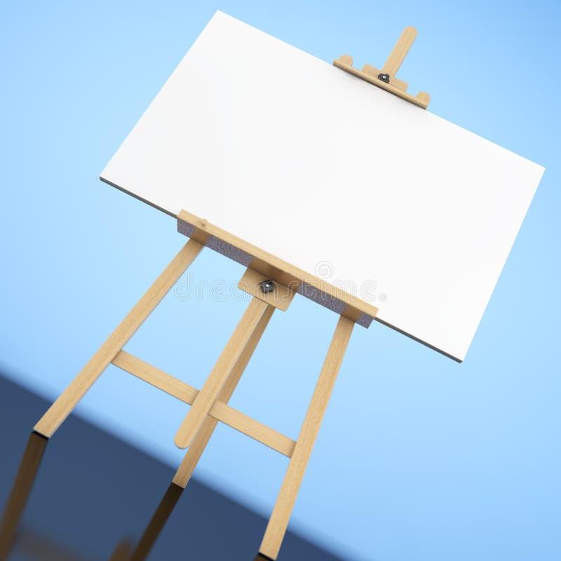 有白色嘲笑的木艺术家画架帆布 3d翻译 库存例证